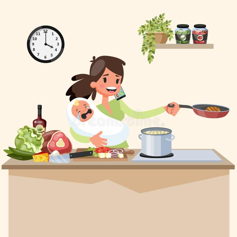 Busy multitasking mother with baby doing many things at once. Tired woman cooking and talking on the phone. Housewife lifestyle. Vector illustration in cartoon royalty free illustration
