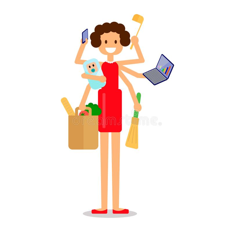 Busy multitasking mother with baby failed at doing many thing at once. Housewife lifestyle. Isolated flat vector illustration stock illustration