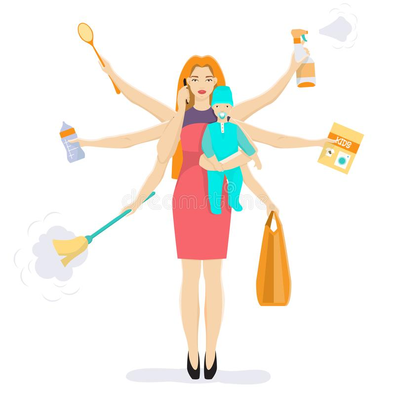 Busy multitasking woman and mom with baby vector flat illustration. Vector illustration of busy woman with baby. Super mom cleaning, shopping, reading book vector illustration