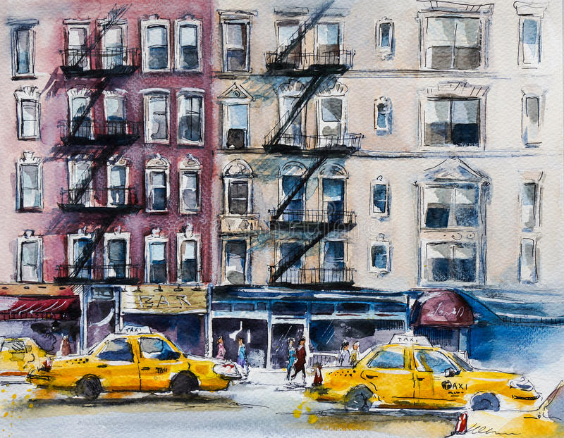 Busy New York street. Watercolor sketch. Busy New York street, Watercolor sketch vector illustration