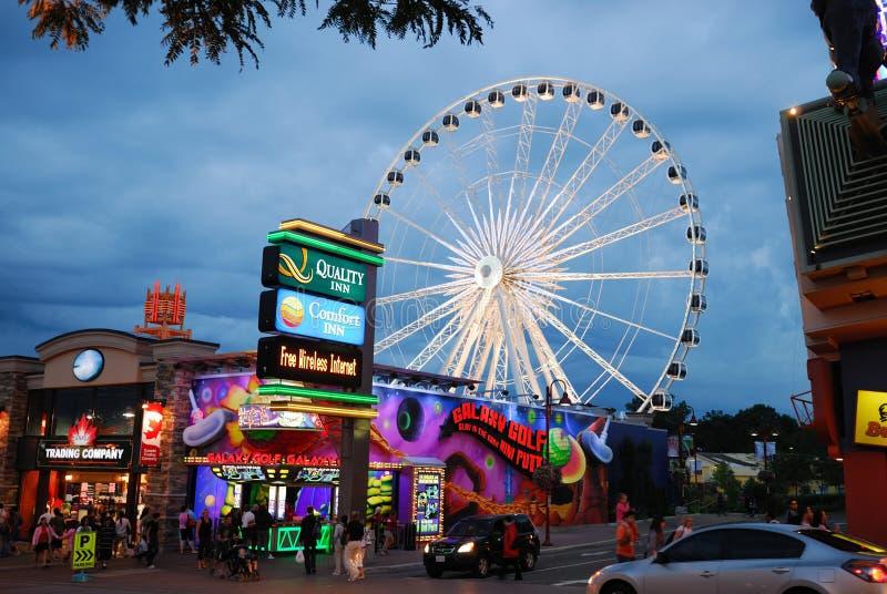 Busy Niagara Falls, Lundy's Lane and Skywheel royalty free stock photos