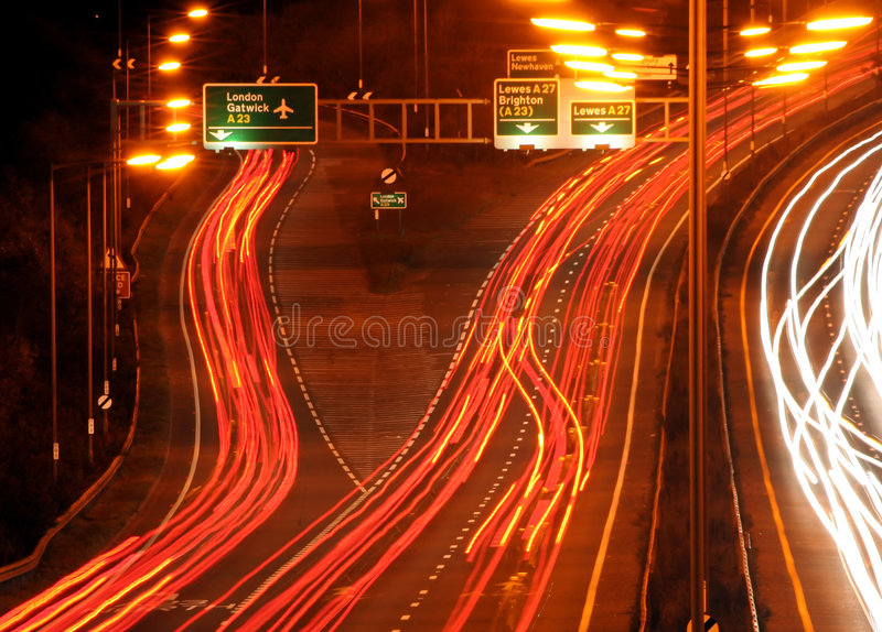 Busy Night. Traffic at rush hour at busy uk junction