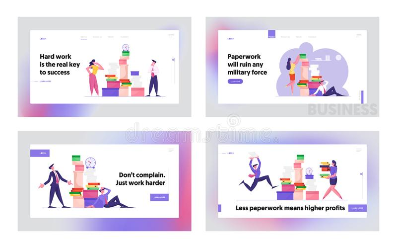 Busy Office People Company Employees Overload at Work Website Landing Page Set. Business People Working. With Heap of Paper Documents. Managers on Job Web Page vector illustration