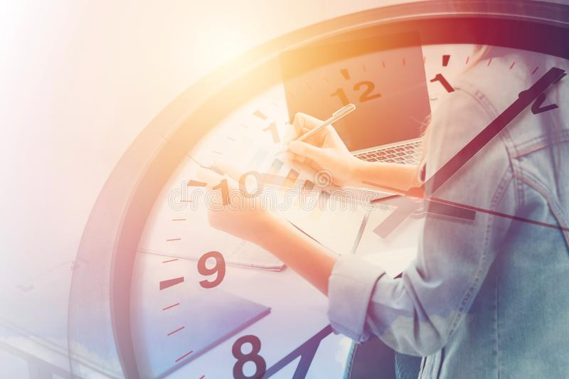 Busy office staff in business time working hours. Concept royalty free stock photos