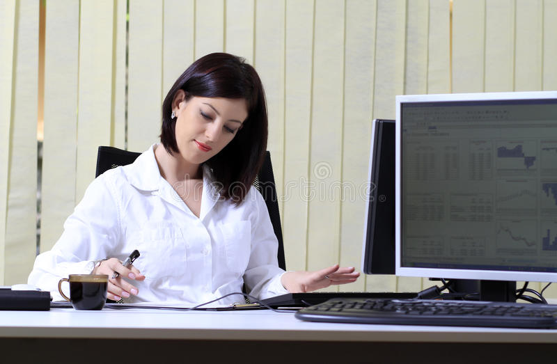 Download Busy office woman stock photo. Image of female, computer - 19383030