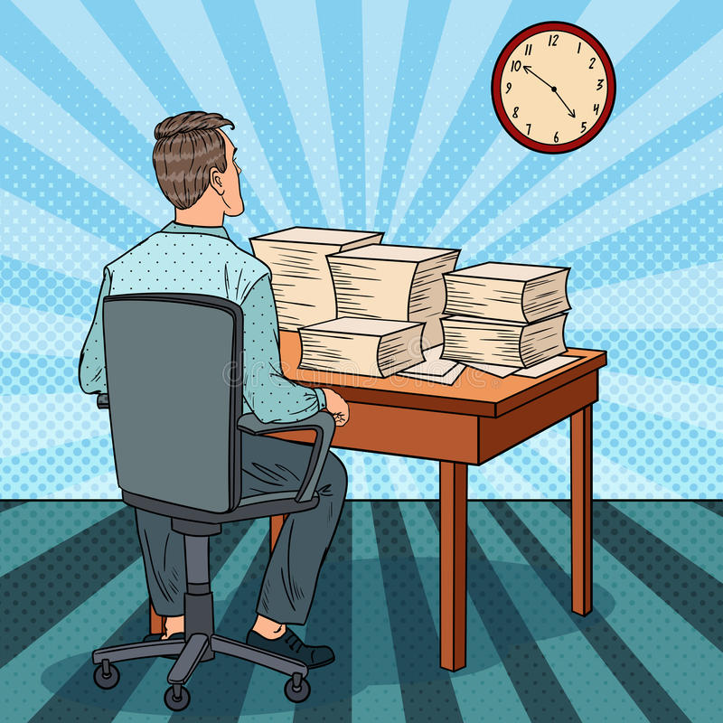 Busy Office Worker with Piles of Papers. Overtime at Work. Pop Art illustration. Busy Office Worker with Piles of Papers. Overtime at Work. Pop Art vector royalty free illustration