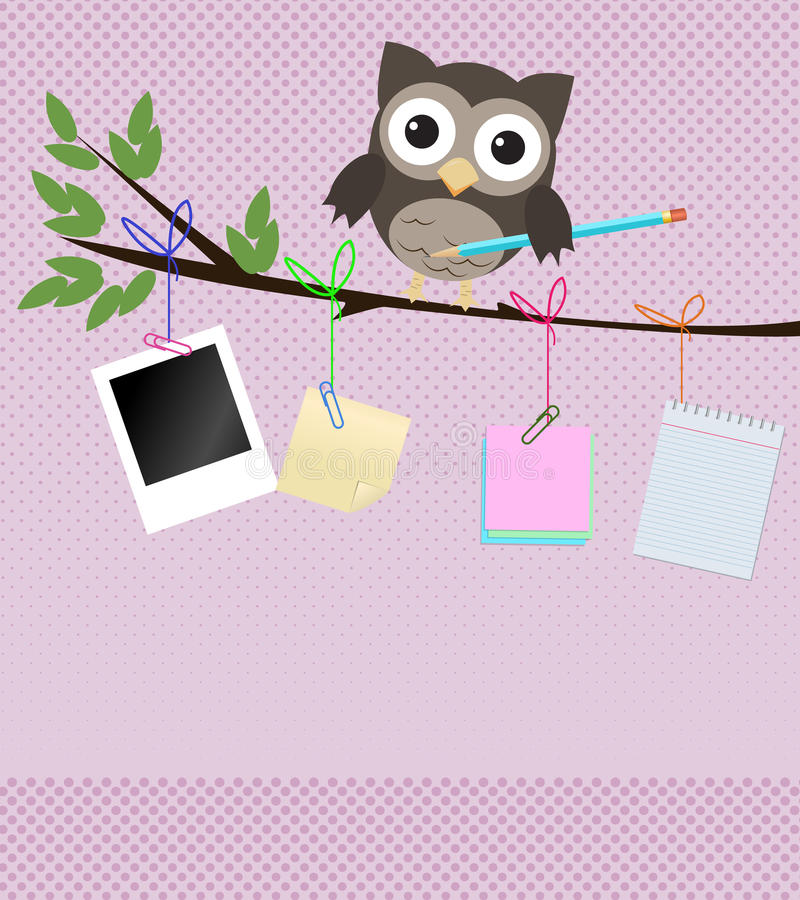 Busy owl/Little brown owl on branch with pencil. And different kind of note papers hanging of the branch vector illustration