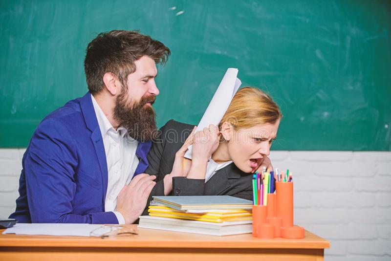 Really busy. paper work. office life. businessman and secretary. teacher and student on exam. back to school. Non-formal royalty free stock photos