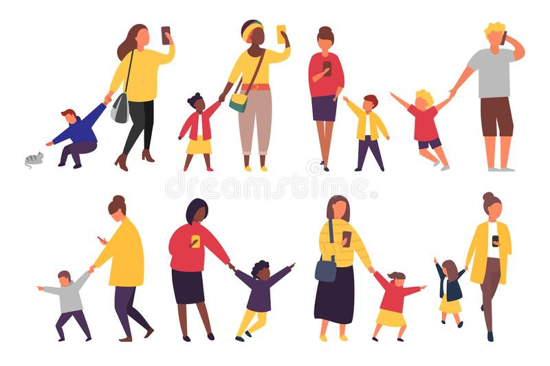 Busy parents with mobile smartphones. Children want attention from adults. Vector illustration. Busy parents with mobile smartphones. Children want attention stock illustration