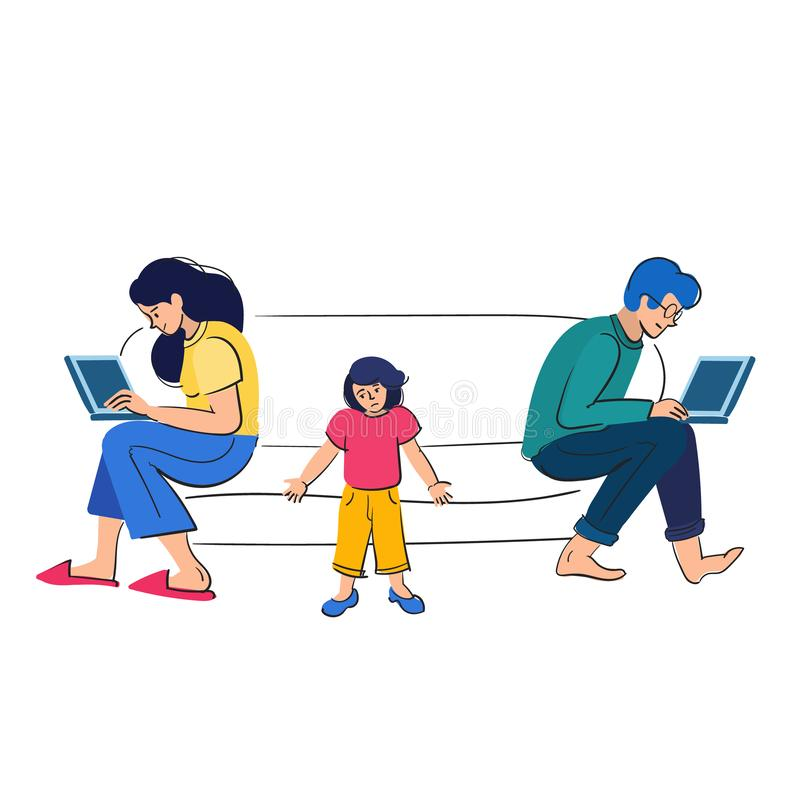 Busy parents work behind laptops.Children want attention from adults. People with kids vector illustration stock image