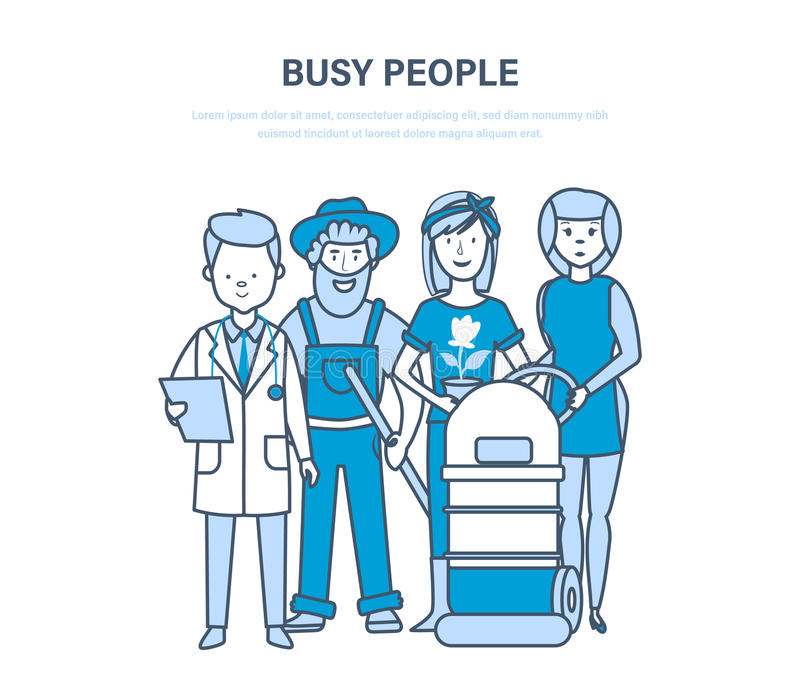 Busy people, employees, clerk, different specialties, doctor, farmers, hotel worker. Busy people, employees, staff, clerk, different professions and specialties stock illustration