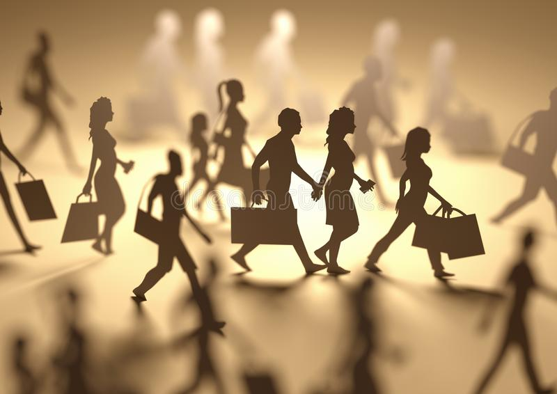 Busy People Shopping Silhouettes. A group of people shopping and carrying retail bags, paper people silhouettes. 3D illustration royalty free stock photography