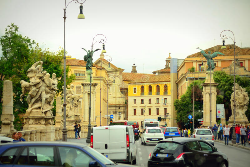 Rome city street traffic Italy. Busy road traffic on Ponte Vittorio Emanuele II Rome city Italy stock photography