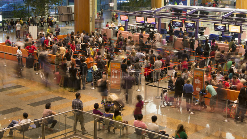 A Busy Singapore Airport Terminal royalty free stock photography