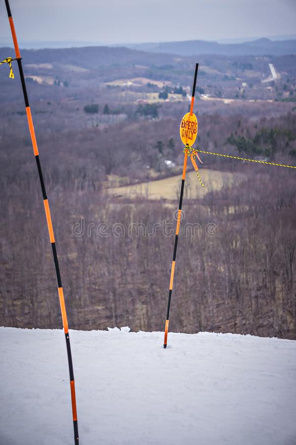 Busy skiing season at a winter place ski resort stock photos