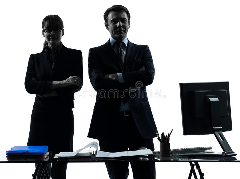 Download Busy Smiling Business Woman Man Couple Silhouette Stock Photo - Image: 28879378