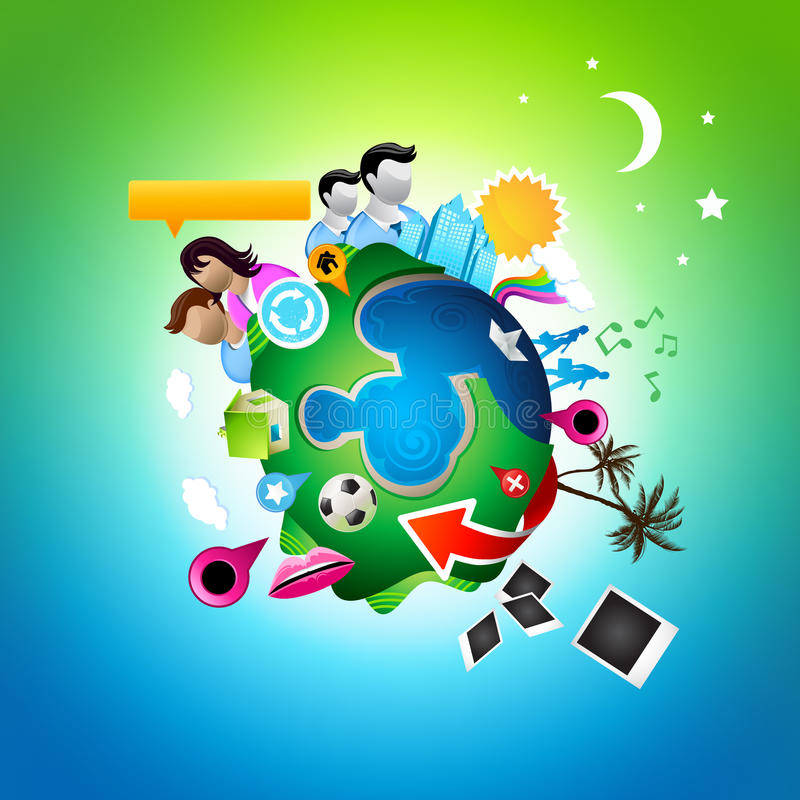 Busy Social Planet royalty free illustration