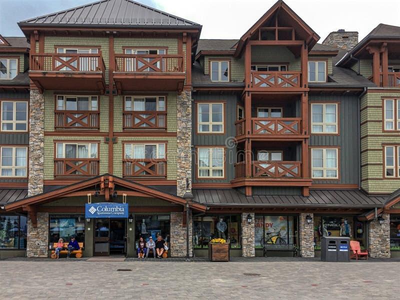Busy street in Blue Mountain Village Canadian popular resort in summer stock photos