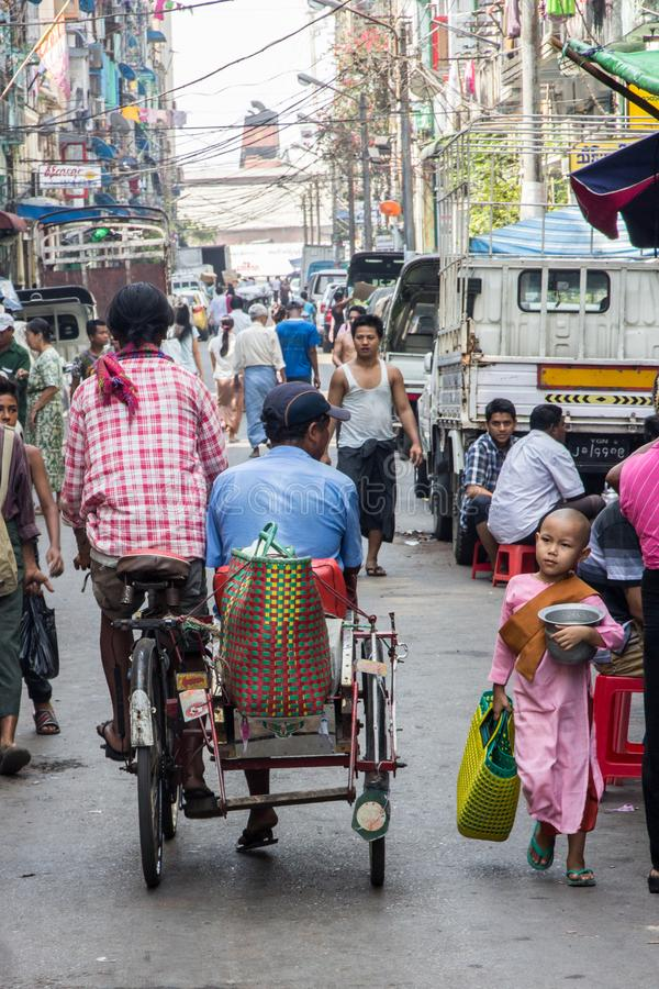A busy street in the centre of the city stock image
