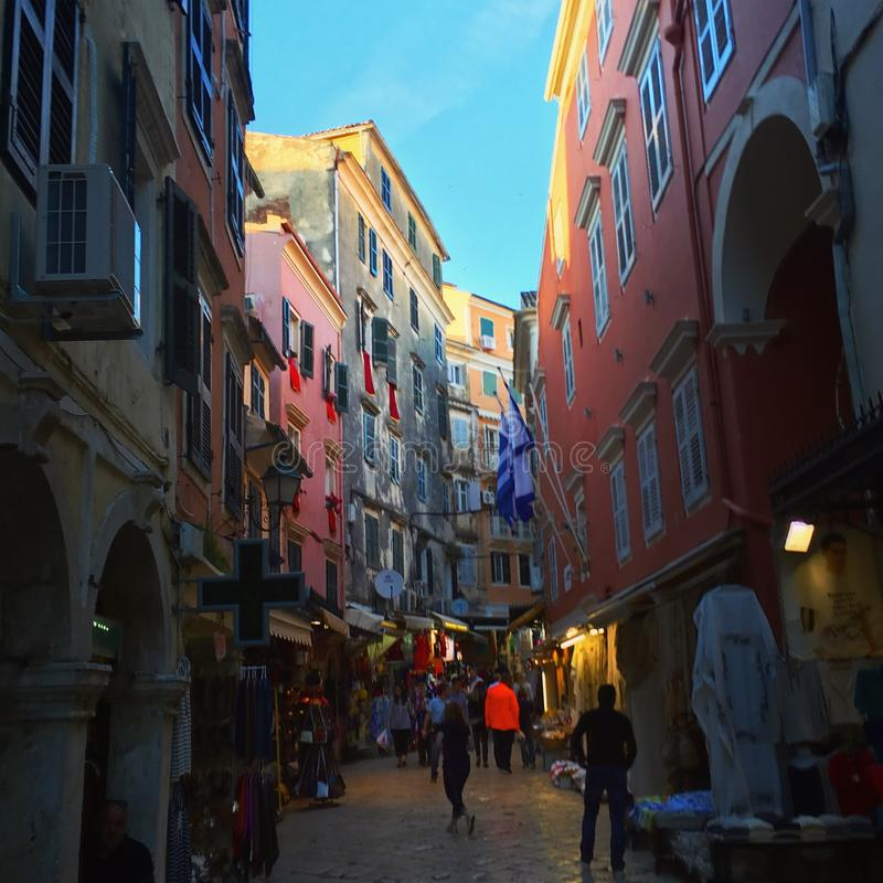 A busy street in Corfu Town, Greece stock image