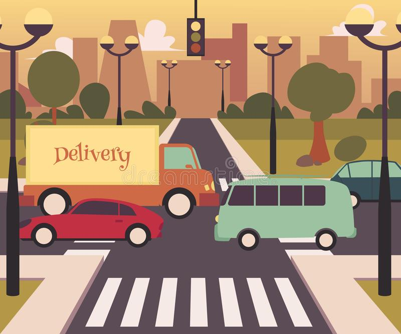 Busy street crosswalk in modern city, road traffic with bus, card and delivery truck vector illustration