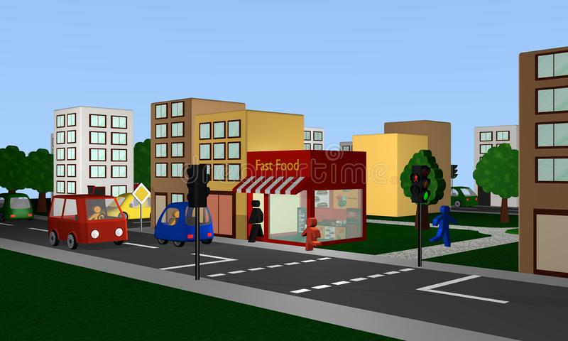 Busy street with fast food snacking, houses, cars and pedestrian. S. 3d rendering vector illustration