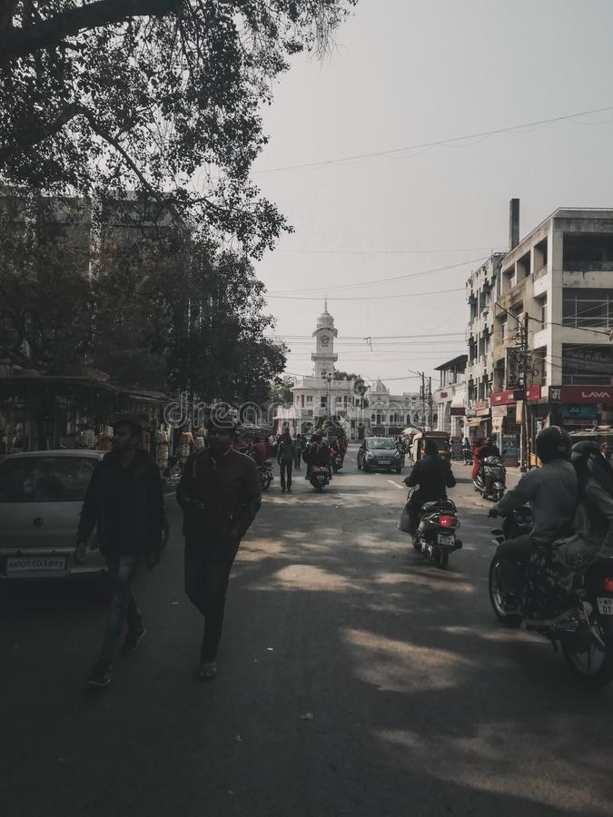Busy street of india stock photography