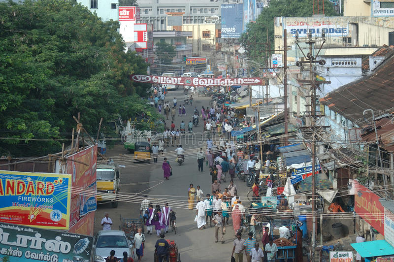 Busy street in India. TIRUNELVELI, TAMIL NADU, INDIA, circa 2009: Traffic and pedestrians clash in the streets. India's population is more than 1.2 billion and royalty free stock photography
