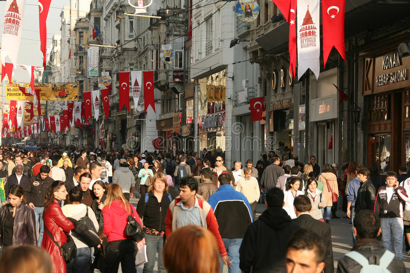 Busy street in Istanbul. ISTANBUL, Turkey - JULY 25, 2016: People walking in busy street. Editorial image royalty free stock image