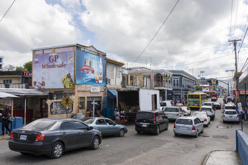 Busy street in Jamaica stock photo
