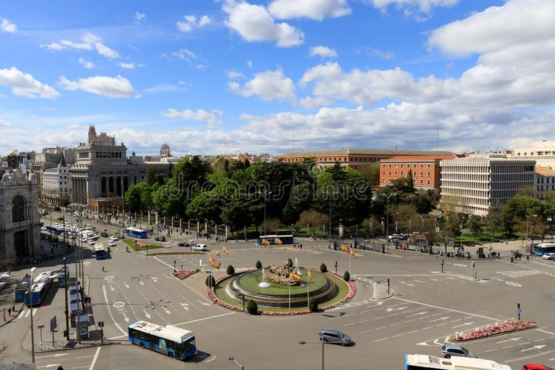 Busy street in Madrid, Spain. MADRID, SPAIN - APR, 8, 2019: While Madrid possesses modern infrastructure, it has preserved the look and feel of many of its stock image