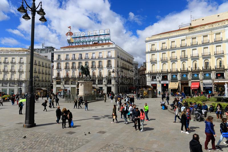 Busy street in Madrid, Spain. MADRID, SPAIN - APR, 8, 2019: While Madrid possesses modern infrastructure, it has preserved the look and feel of many of its royalty free stock images