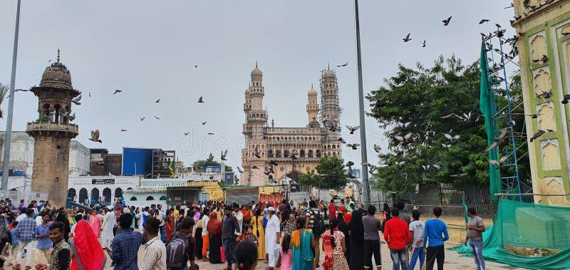 Busy street market near Charminar, Hyderabad, India royalty free stock photo