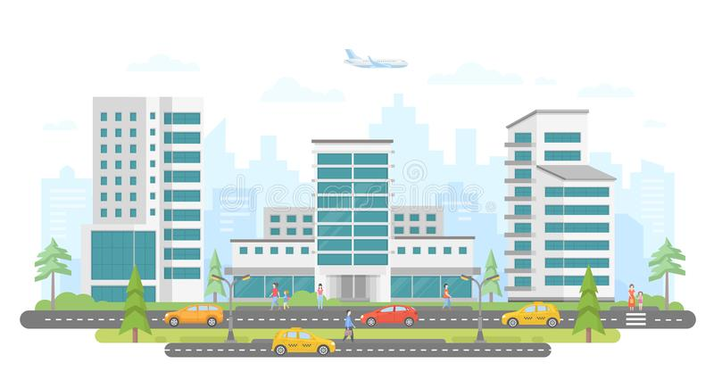 Busy street - modern colorful flat vector illustration. On white background. Lovely housing complex with skyscrapers, trees, cars and taxis on the road, a lot stock illustration