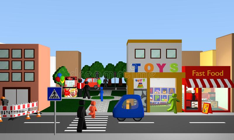 Busy street with a pedestrian crossing, shops and park with popcorn machine. 3d rendering royalty free illustration