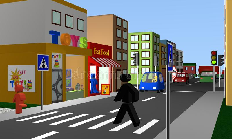 Busy street with a pedestrian crossing, shops and railway crossing. 3d Render stock illustration