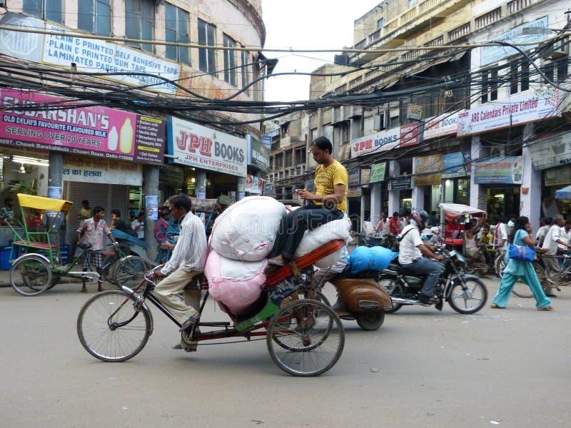 Busy street scene Old Delhi India stock photos