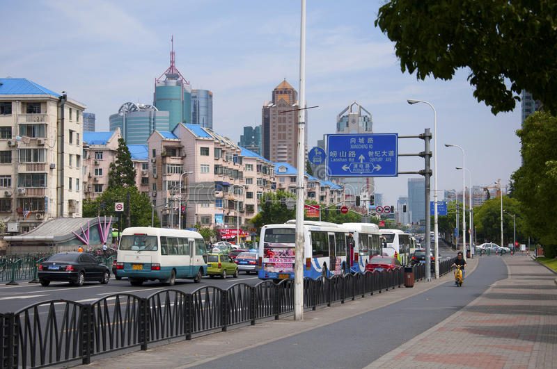 Busy street in Shanghai royalty free stock images