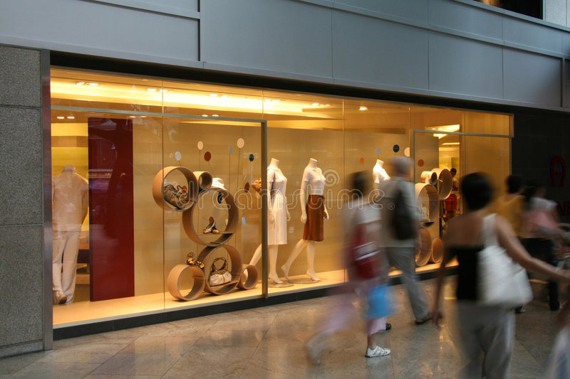 Busy Street and Shop - Orchard Road, Singapore stock photography