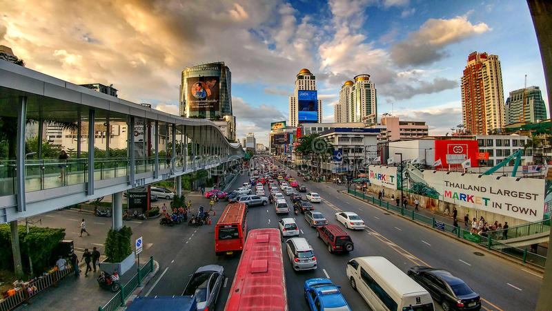 Busy streets of Bangkok stock images