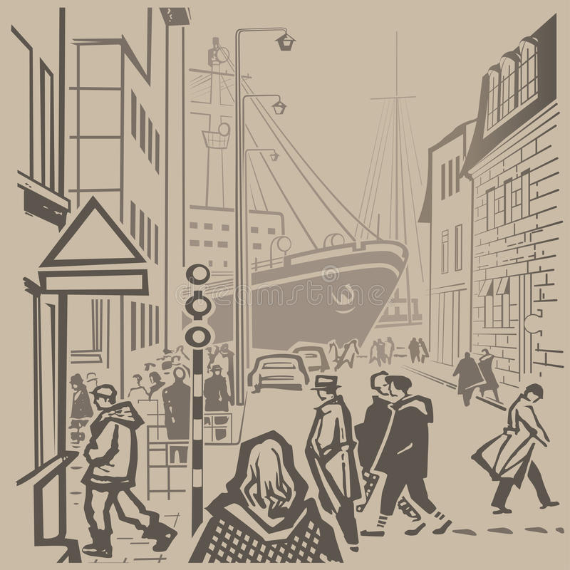 Busy streets royalty free illustration