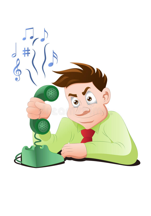 Busy telephone. Illustration of a businessman with busy telephone tone on isolated white background royalty free illustration