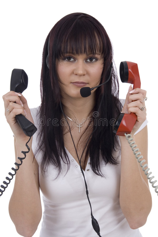 Busy telephonist royalty free stock photography