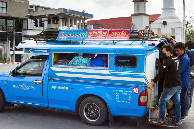 Busy Thailand city bus stock photo