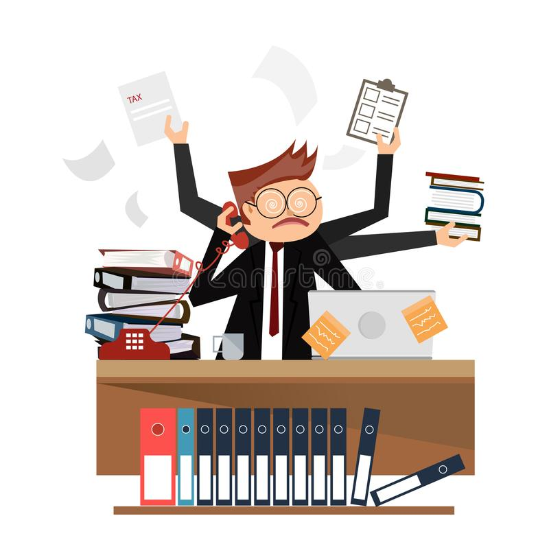 Busy time of businessman in hard working. A lot of work. Illustrator royalty free illustration