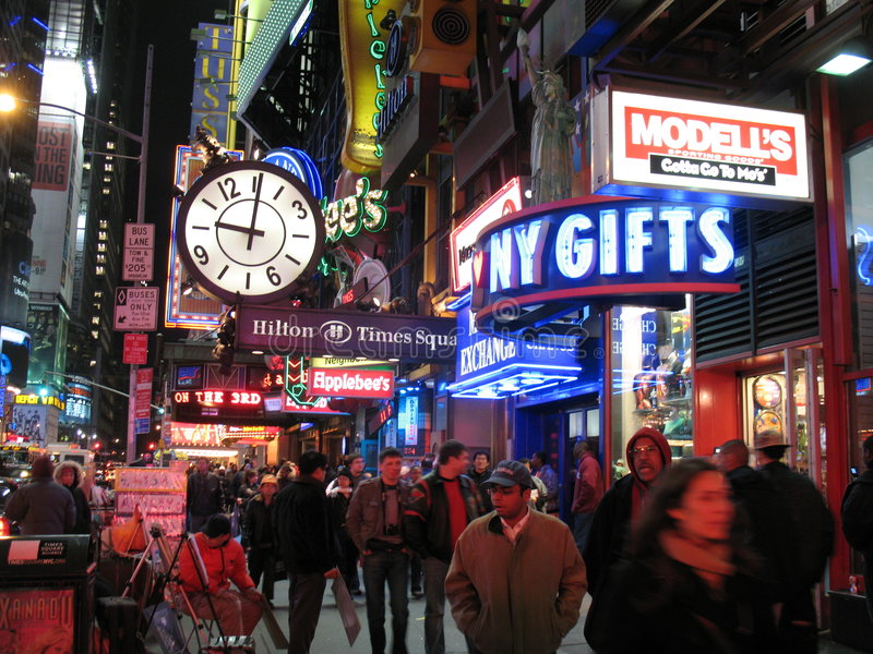 Busy Times Square NYC. Photo of Times Square in NYC during late march which is spring break. Times Square is always crowded especially holidays royalty free stock image