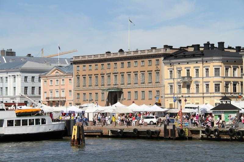Finland/Helsinki: Tourist Harbor, Market Place, Neoclassical Buildings Editorial Photography