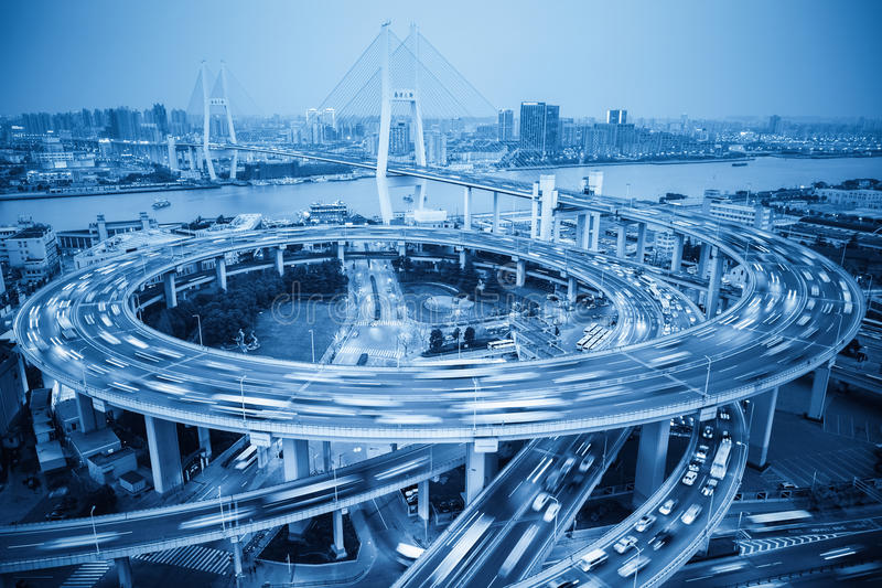 Busy traffic and the bridge royalty free stock images