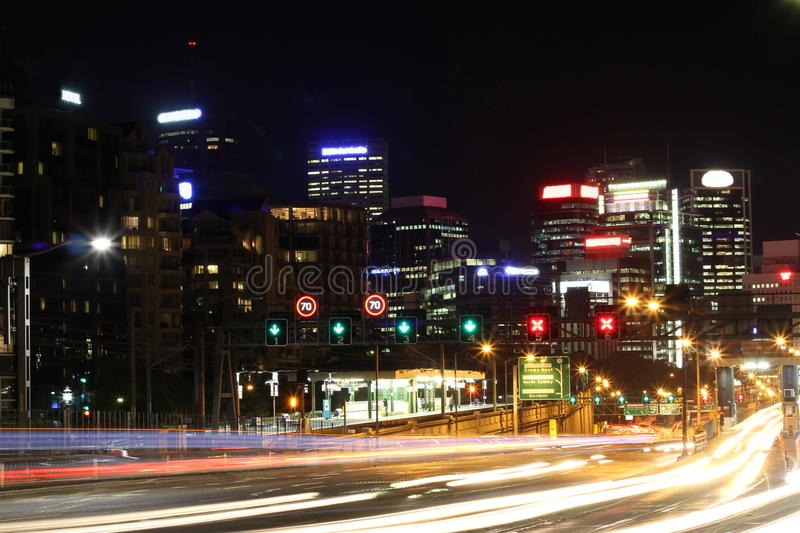 Download Transit Traffic Of Large City At Night Blur Stock Image - Image: 18720705
