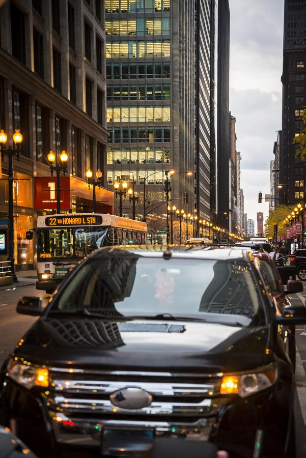 Busy traffic in the street in the downtown Loop area. Chicago, Illinois, USA royalty free stock photos